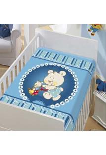 Cobertor Infantil Jolitex Tradicional Mamãe E Filho Azul Masculino - Kanui