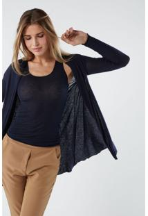 Cardigan Comprido Em Cashmere Ultraleve Intimissimi Cashmere Azul