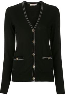 Tory Burch Cardigan Color Block Madeline - Preto