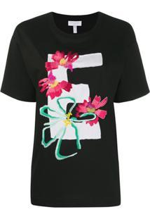 Escada Sport Camiseta Com Flores Bordadas - Preto