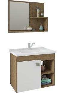 Conjunto Para Banheiro Com 1 Porta E Cuba Lotus-Mgm - Carvalho / Branco