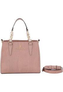 Bolsa Smartbag Couro Lagarto Tiracolo Blush - Feminino-Rosa