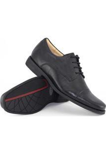 Sapato Social Couro Anatomic Gel Black Tie Masculino - Masculino-Preto