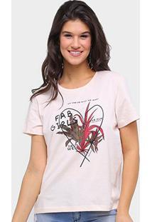 Camiseta Sommer Básica Fab Girls Feminina - Feminino-Rosa