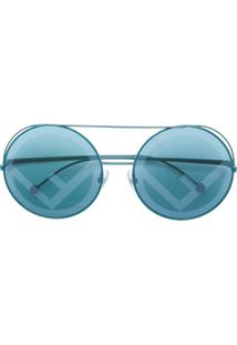 Fendi Eyewear Óculos De Sol 'Runaway' - Azul