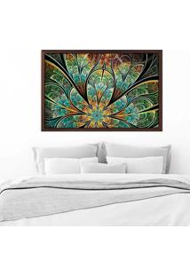 Quadro Love Decor Com Moldura Flor Vitral Verde Madeira Escura Grande - Multicolorido - Dafiti