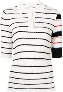 Sonia Rykiel Camisa Polo Listrada - Branco