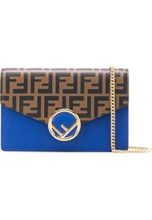 Fendi Carteira F Is Fendi Com Corrente - Azul