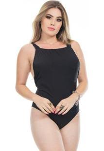 Body Clara Arruda Decote Quadrado Feminino - Feminino-Preto