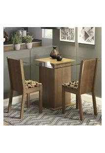 Conjunto Sala De Jantar Madesa Clei Mesa Tampo De Vidro Com 2 Cadeiras Rustic/Bege Marrom