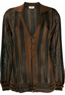 Fendi Cardigan Translúcido Listrado - Preto
