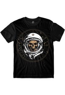 Camiseta Bsc Caveira De Capacete Astronauta Masculina - Masculino-Preto