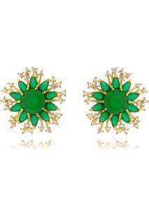 Brinco Lua Mia Joias Flor De Zircônias Verdes Esmeralda E Brancas Banho Ouro