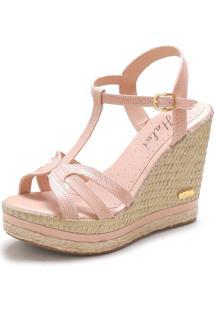 Sandália Sb Shoes Anabela Ref.3230 Croco Nude