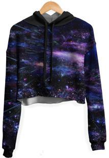 Blusa Cropped Moletom Feminina Galaxia Chuva Meteoros Md05 - Preto - Feminino - Poliã©Ster - Dafiti