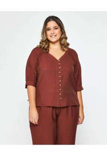 Blusa Almaria Plus Size Garage Lisa Decote V Marro