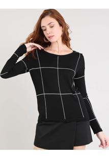 Suéter Feminino Estampado Quadriculado Em Tricô Preto