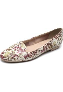 Slipper Couro Bottero Floral Bege