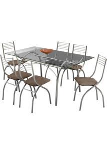 Conjunto De Mesa Com 6 Cadeiras Olivia Camurça Conhaque