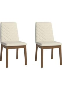 Conjunto Com 2 Cadeiras De Jantar Tai Bege