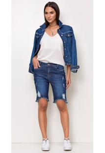 Bermuda Jeans Express Mom Brunye Azul - Kanui