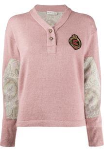 Etro Suéter De Tricô Com Recorte Paisley - Rosa