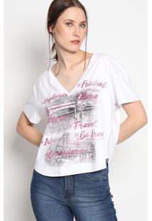 "Camiseta ""Explore""- Branca & Malva- Coca-Colacoca-Cola"