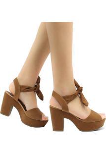 Sandália Zariff Shoes Meia Pata Nobuck Amarração Marrom
