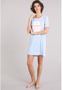 Camisola Feminina Estampada Poás E Ursinho Manga Curta Decote Redondo Azul Claro