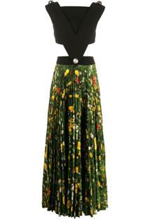 Christopher Kane Vestido Floral Com Recorte Vazado - Preto