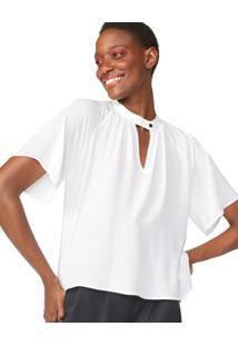 Blusa Solta Manga Curta Crepe