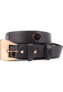 Cinto Cintura Quadril Skinny Tacheado Veludo Preto