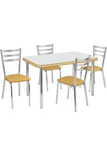 Conjunto De Mesa Com 4 Cadeiras Gisele Cromado