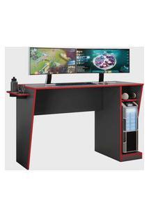 Mesa Gamer Cyber Candian Grafite E Vermelho Jcm Movelaria