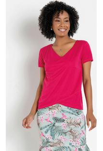 Blusa Rosa Transpassada Moda Evangélica