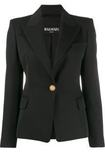Balmain Blazer Com Abotoamento Simples - Preto