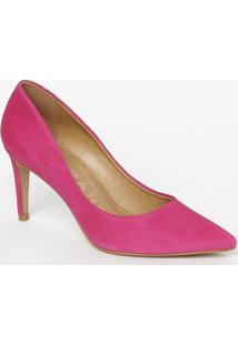 Scarpin Em Couro Acamurçado- Pink- Salto: 8Cmcarrano