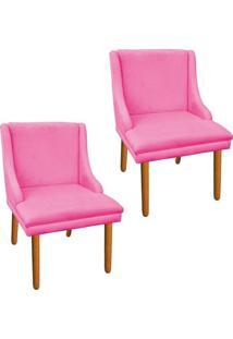 Kit 02 Cadeira Sala De Jantar Liz Suede Rosa Barbie - D'Rossi