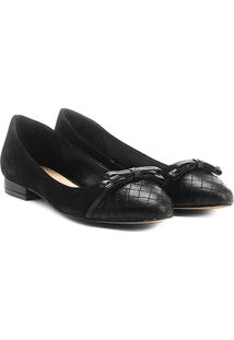 Sapatilha Couro Shoestock Bicolor Laço Feminina - Feminino-Preto