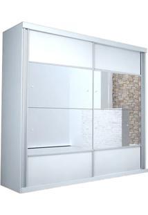 Guarda-Roupa Realce - 2 Portas Com Espelho - Branco
