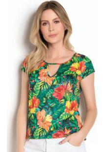 Blusa Tropical Com Gota No Decote