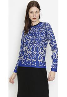 Blusa Em Tricã´ Com Arabescos- Azul Escuro & Cinza- Pponto Aguiar
