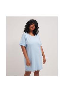 Camisola Manga Curta Lisa Com Detalhes Em Renda Curve & Plus Size | Ashua Curve E Plus Size | Azul | G