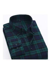 Camisa Xadrez Masculina Slim Fit Alabama - Verde E Navy