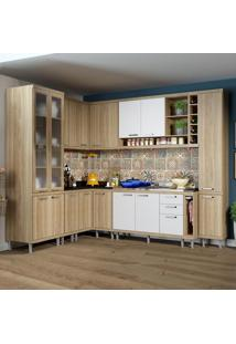 Cozinha Completa 16 Portas 3 Gavetas Sicília 5804 Branco/Argila - Multimóveis