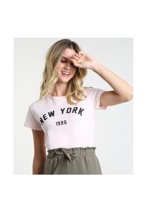 "Blusa Feminina New York"" Manga Curta Decote Redondo Rosa Claro"""