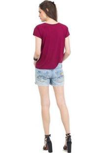 Camiseta 41Onze Back Cheetah Feminina - Feminino-Vinho