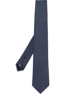 Emporio Armani Gravata De Seda Com Estampa Geométrica - Azul