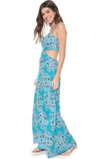 Vestido Redley Longo Bouquet Azul