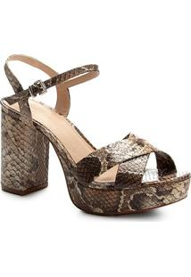 Sandália Couro Shoestock Meia Pata Cobra Feminina - Feminino
